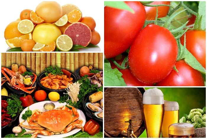 hải sản kỵ bia và các loại trái cây chứa vitamin C