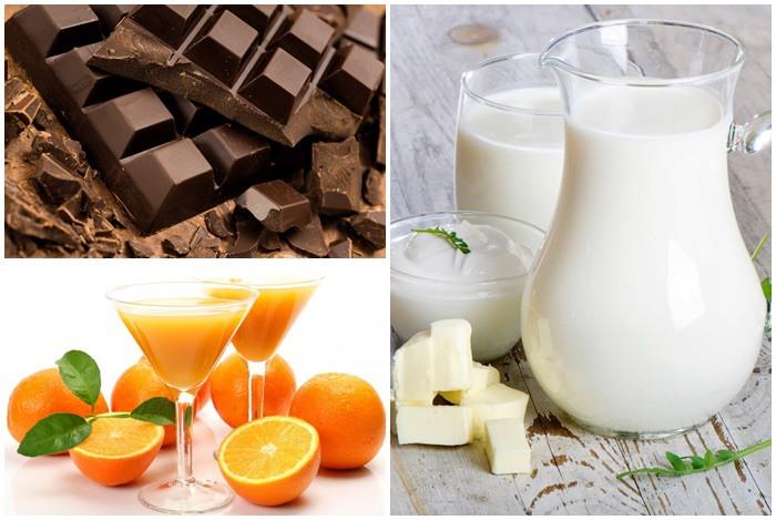 sữa tươi kỵ socola và nước ép trái cây có vị chua
