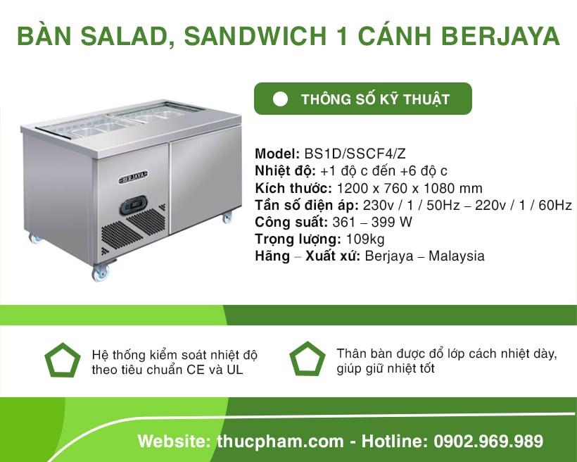 Bàn Salad, Sandwich 1 Cánh Berjaya BS1D/SSCF4/Z