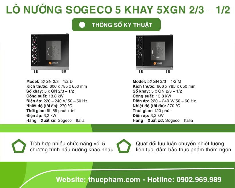 Lò Nướng Sogeco 5 Khay 5XGN 2/3 – 1/2