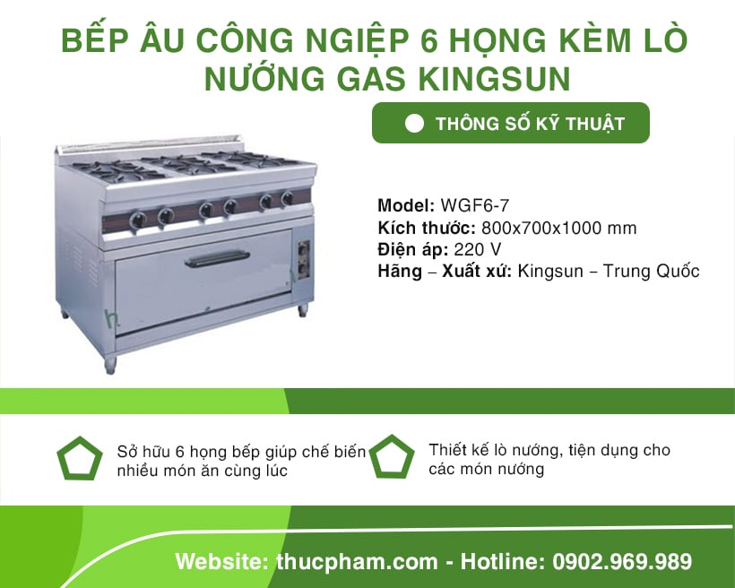 bep au cong nghiep 6 hong kem lo nuong gas kingsun 05