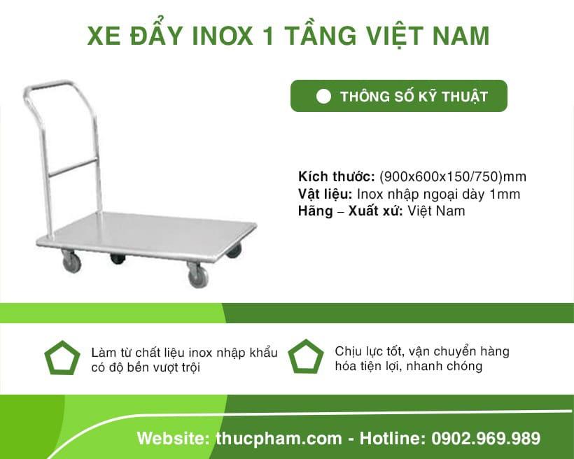 Xe Đẩy Inox 1 Tầng Việt Nam